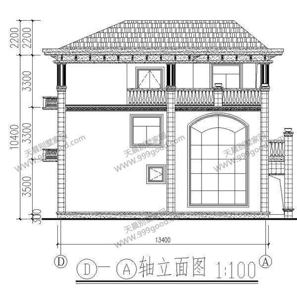 农村自建三层别墅设计图, 10.9x13.4米彰显古典神韵!