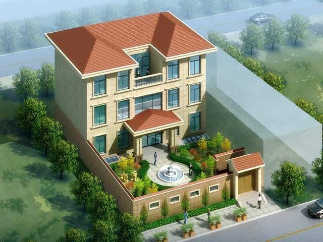 农村三层别墅设计图分享, 16.4X24.5米带庭院和露台