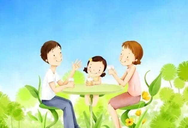 陪伴母亲吃饭卡通