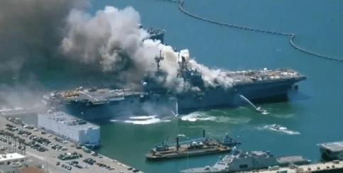 美军10天3次大火灾,美国肯尼迪号航母发生火灾
