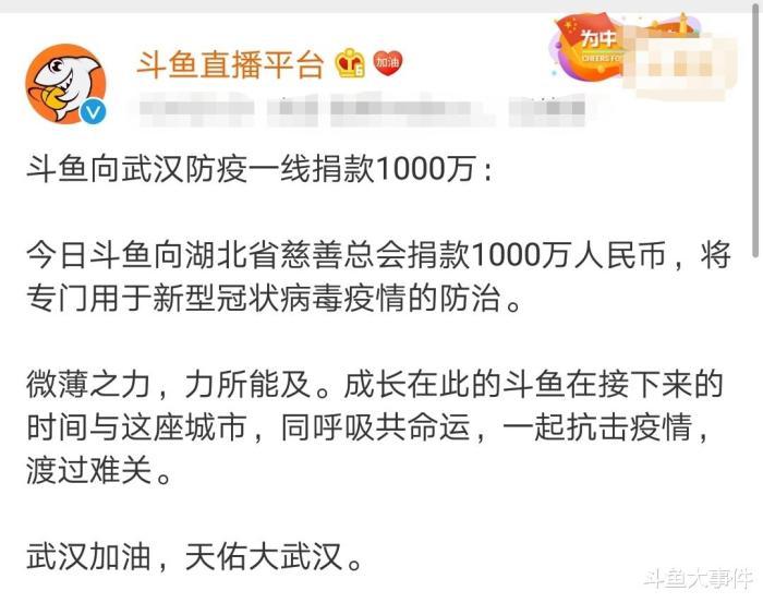 共青团中央点名表扬斗鱼直播平台、炫石公会,这两家公司都曾为武汉疫区捐资捐物!