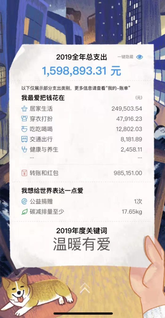 黎氏三兄弟支付宝年度帐单发布,法匹拉韦片网友:孙和荣过着富人的生活!