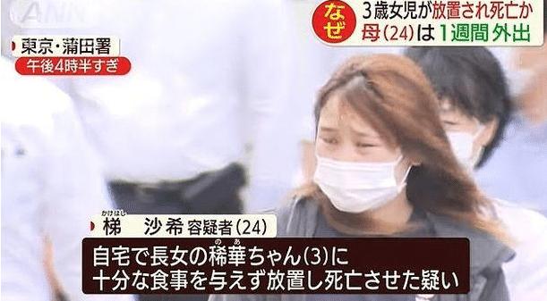 日本妈妈与男子循环女儿被活活饿死 被警方以遗弃罪逮捕