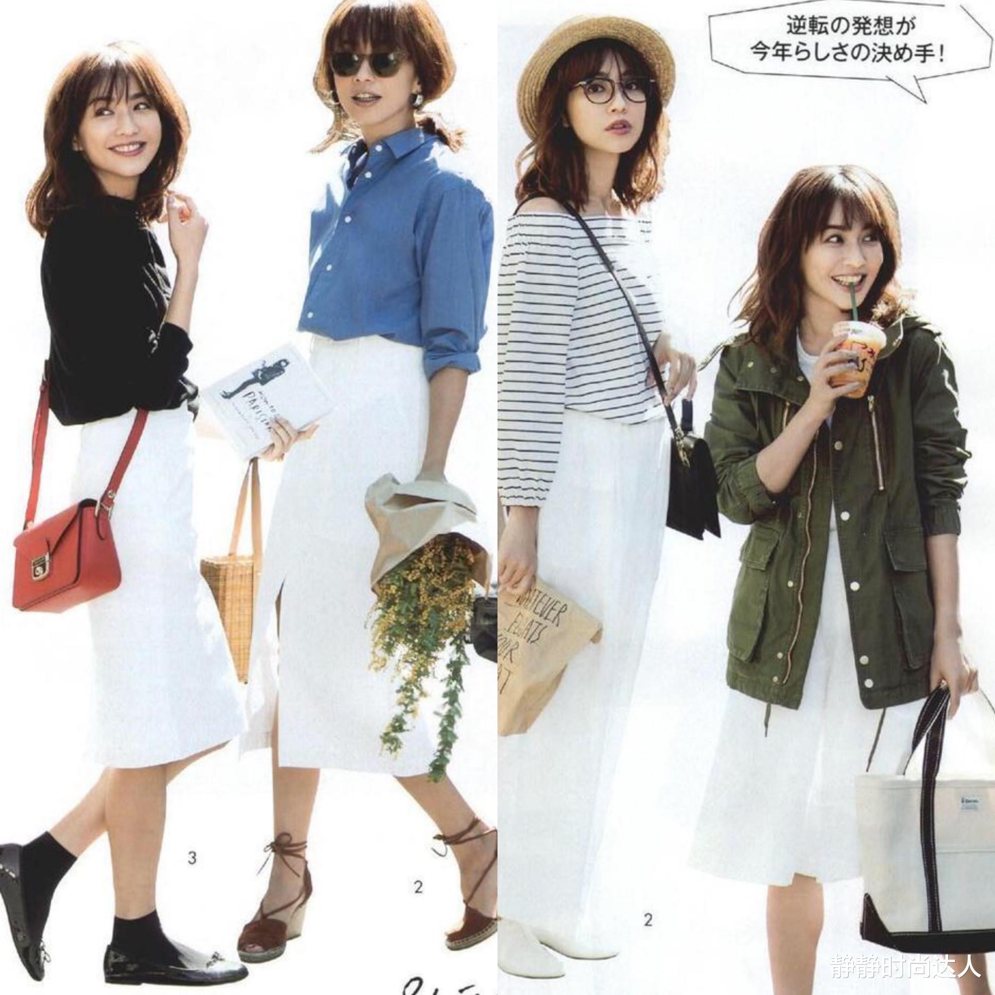 普通的白色半身裙,选这3种款式时髦又显瘦,这么穿越看越美