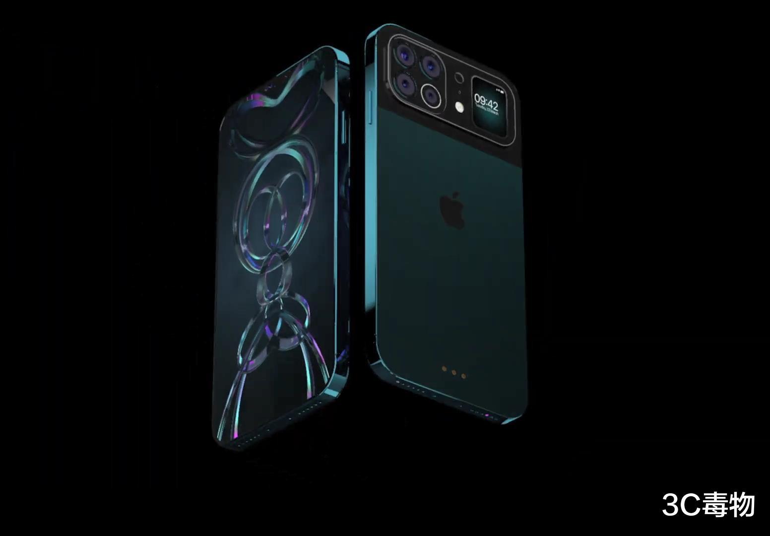 iPhone13ProMax渲染图:后置5摄配1.5寸副屏,存储最高支持1TB