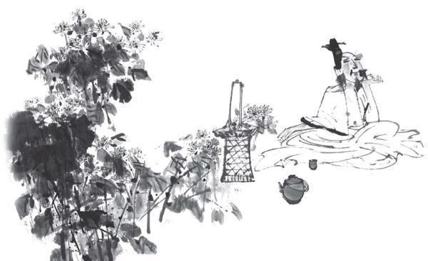 古代吃饭手绘画