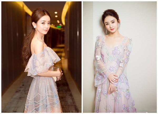 最近穿着一身淡蓝色礼服的赵丽颖和刘亦菲撞衫