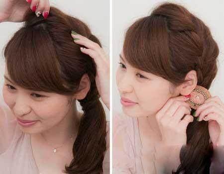 ⑦用麻花辫围绕包裹着扭纹辫的橡筋处,让人产生是用头发来固定的视觉