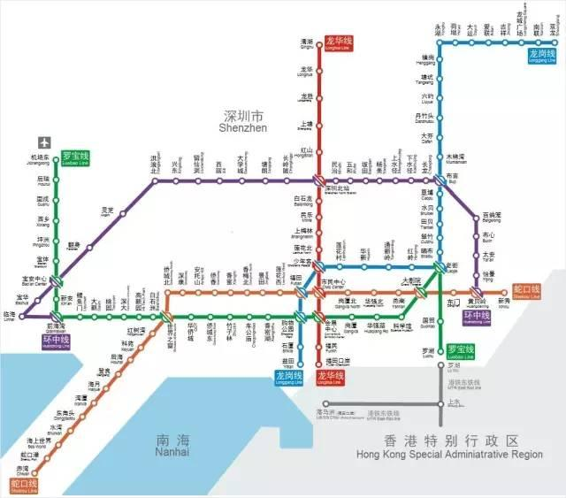 深圳地铁路线图(点击此图放大)