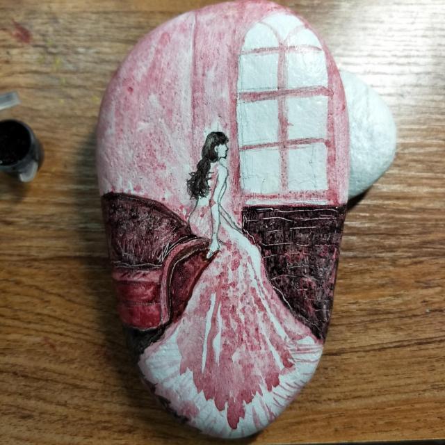 手绘石头画教程图片