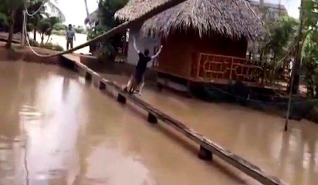 农村小媳妇骑自行车过独木桥, 接下来的画面 笑开心了