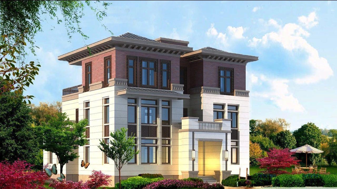 16x12米新中式三层复式别墅, 带车库多露台, 美观大气适合自建.