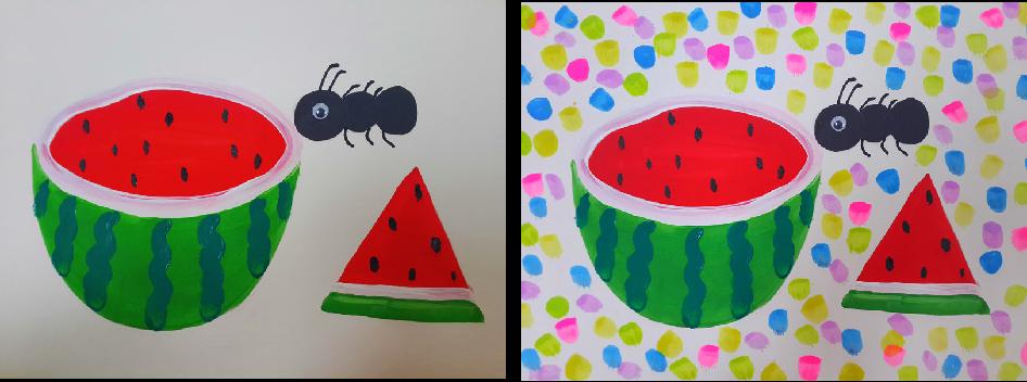 步骤说明:11,把蚂蚁贴到西瓜旁边,画出6条腿,2个触角.图片
