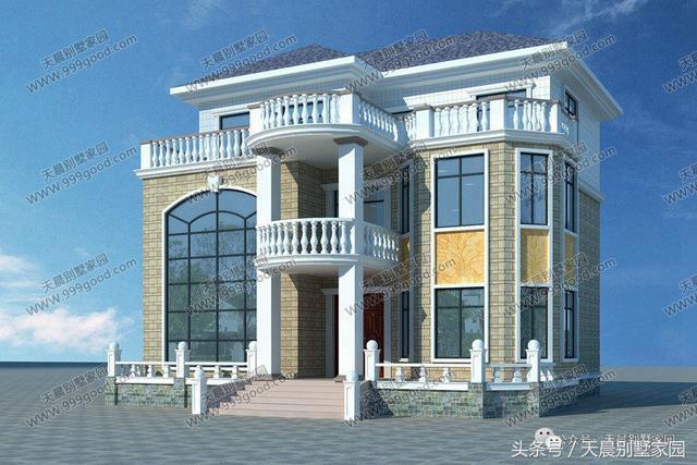 二层别墅设计图:客厅中空,3个卧室,2卫生间,阳台.