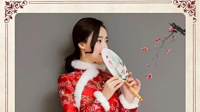 红色夹棉旗袍, 经典重工刺绣, 美得不可方物!