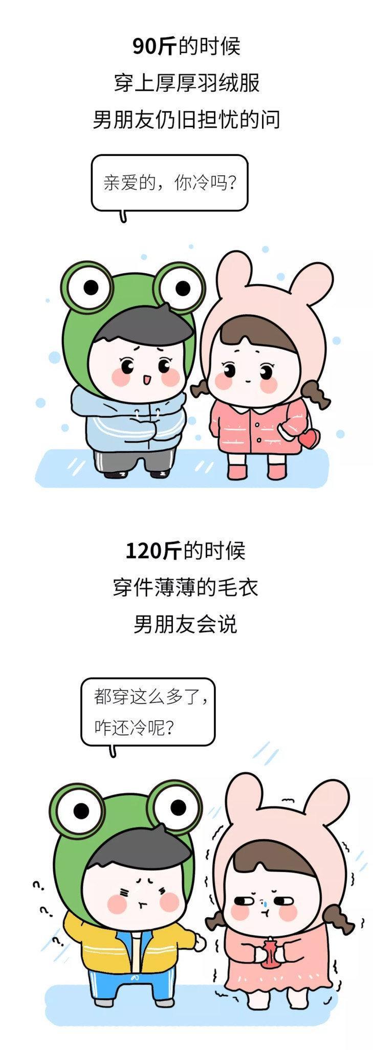 女生90斤和120斤的冬天有什么不同?