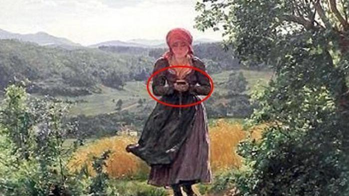 """一张古画发现穿越者?画中人拿着""""手机""""?距离现在早了200年"""