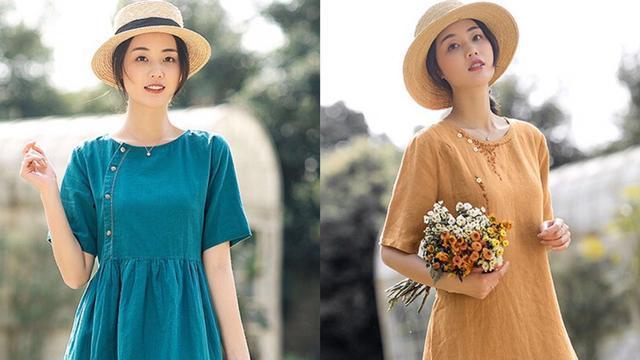 不出意外!一条棉麻连衣裙纯净美好,春天穿上舒适又自然