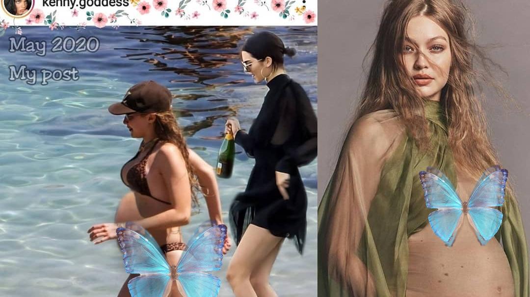 Gigi和肯豆海边玩,穿泳装秀33周大孕肚,长胖不少