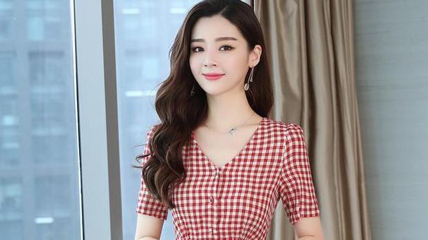 红色格子V领连衣裙女夏季小清新韩版高腰显瘦复古裙子