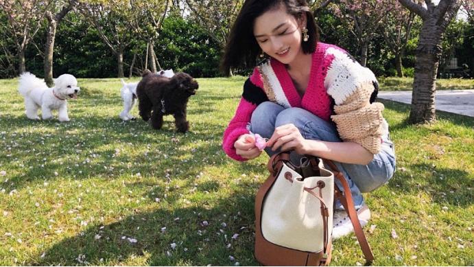 宋祖儿也超爱撸狗狗的,春日踏青玩得开心,好喜欢她的线衫颜色