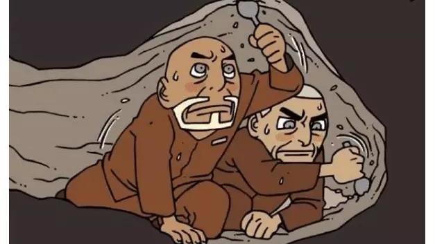 搞笑漫画:两囚犯用勺子挖地道,成功越狱,却碰上百年扩建