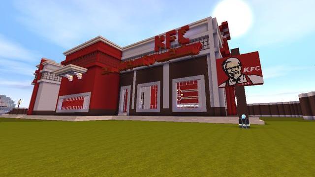 迷你世界:大神复制建造KFC餐厅,地表最大面积,30种美食随便吃!