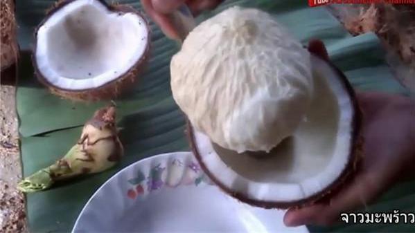 实心的椰子你可曾见过?果肉像冰淇淋,用勺子挖着吃,比吃椰肉香