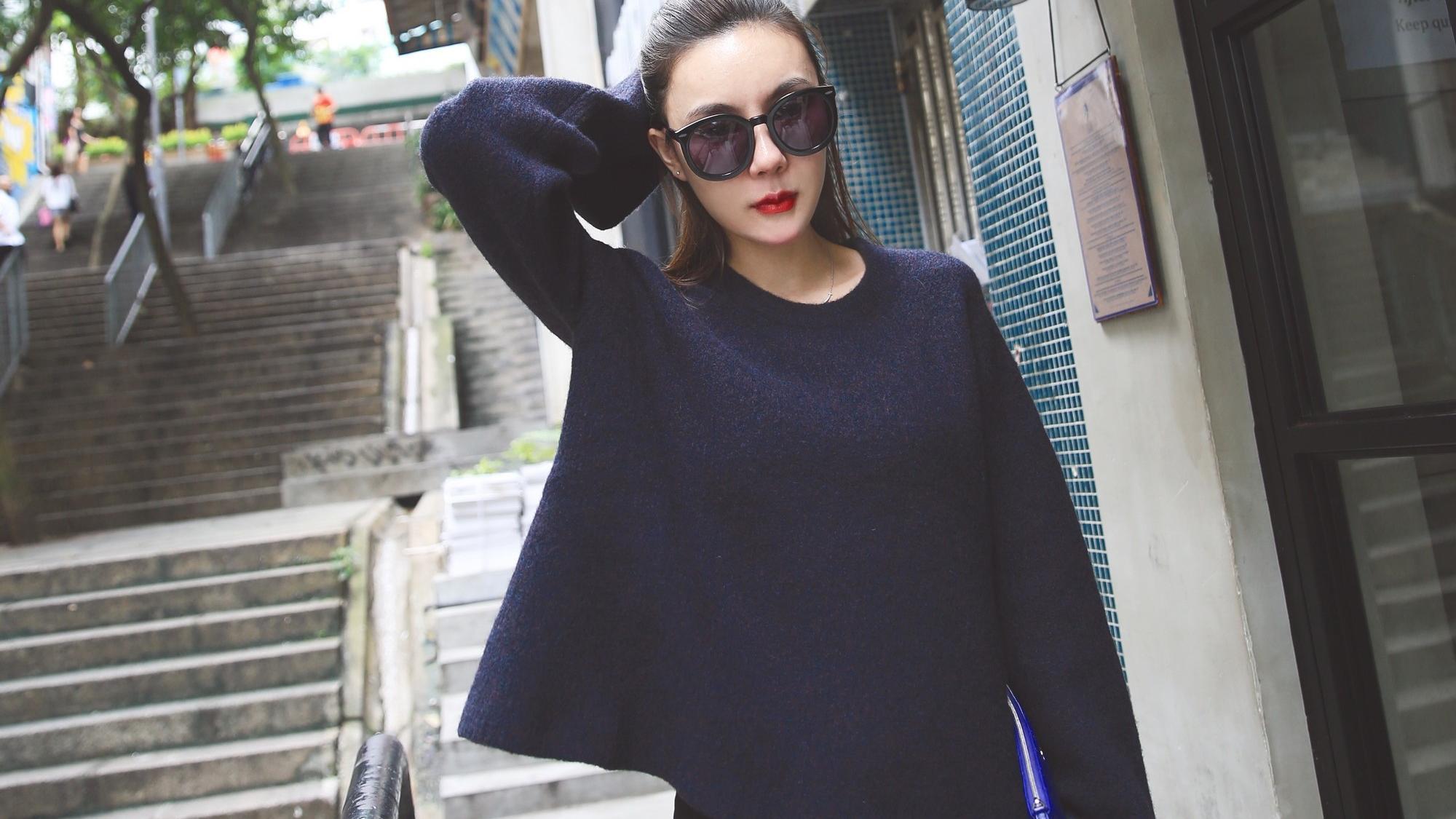 【藏青呢子】韩国时尚美女街头模特拍摄