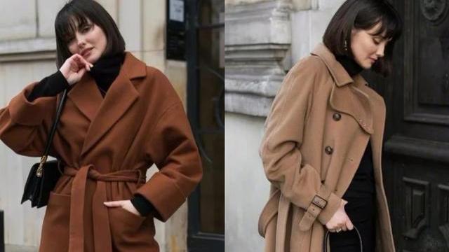 冬季穿搭黑白灰驼大衣时,还是搭黑色内搭最经典,怎么穿都不过时