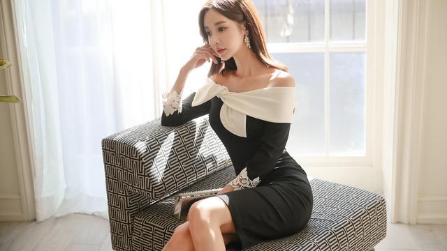 韩国模特珠珠时尚气质穿搭:刺绣朵花黑白蝴蝶及膝晚礼裙