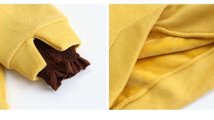 木耳边卫衣女潮2020新款时尚字母亮片宽松秋冬加绒加厚假两件上衣