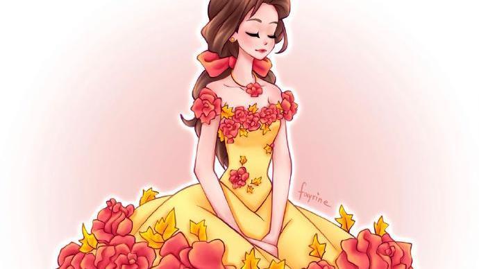 穿鲜花裙的迪士尼公主,茉莉公主温柔唯美,艾莎女王仙气满满