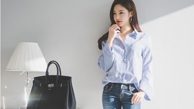 韩国美女模特牛仔裤衬衣穿搭