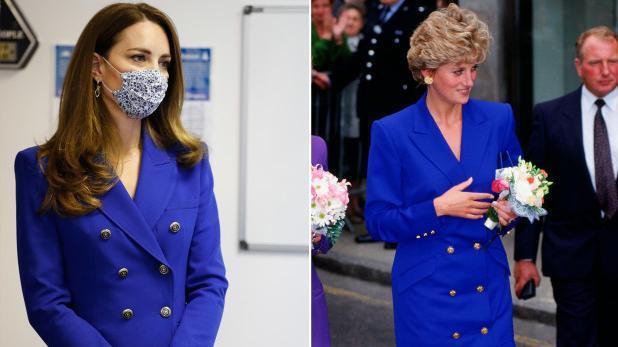 """凯特王妃穿皇家蓝致敬戴妃,平价百褶裙,""""撞衫""""梅根争议纪梵希"""