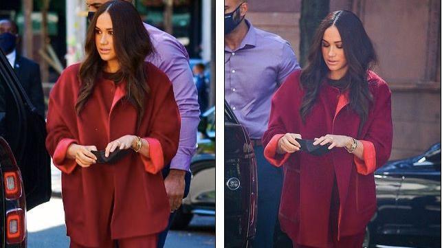 梅根纽约行穿全红睡衣风,20度天气展示秋冬羊绒时尚,网友:好热