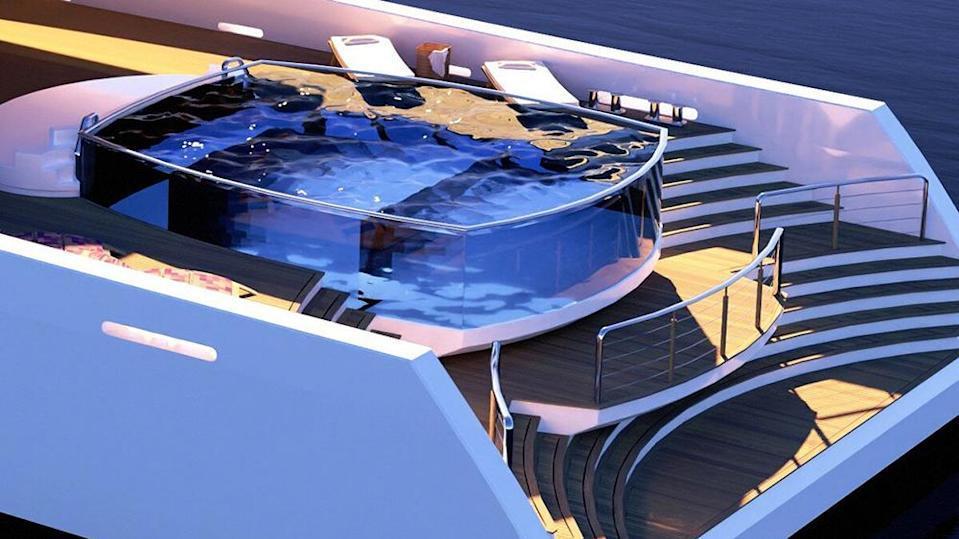 """308英尺超级运动概念游艇""""水晶格子"""",在黑暗中发光"""