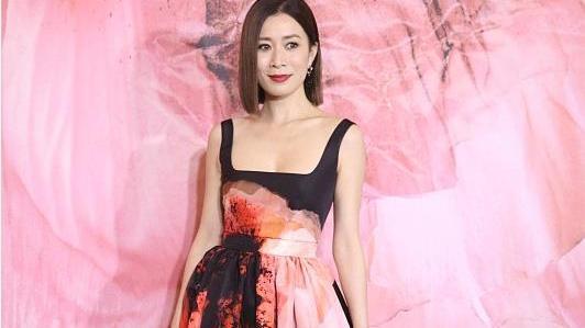 佘诗曼真是气质美人,穿印花长裙优雅华贵,大领口造型也不俗气