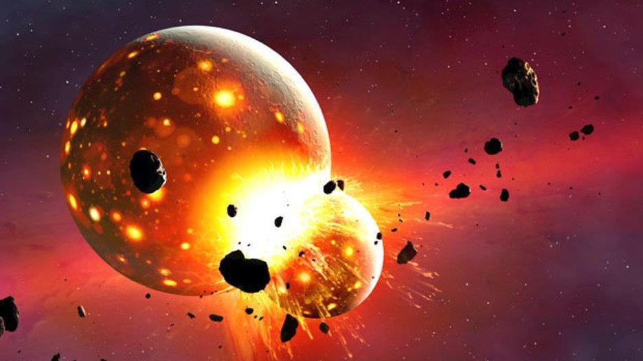两颗行星如此猛烈地撞在一起,以至于其中一颗失去了大气