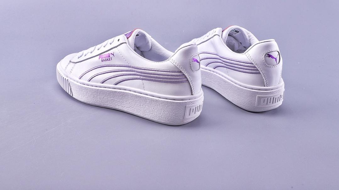 彪马PUMA 飘了飘了!Puma白紫皮面厚底松糕鞋低帮增高板鞋