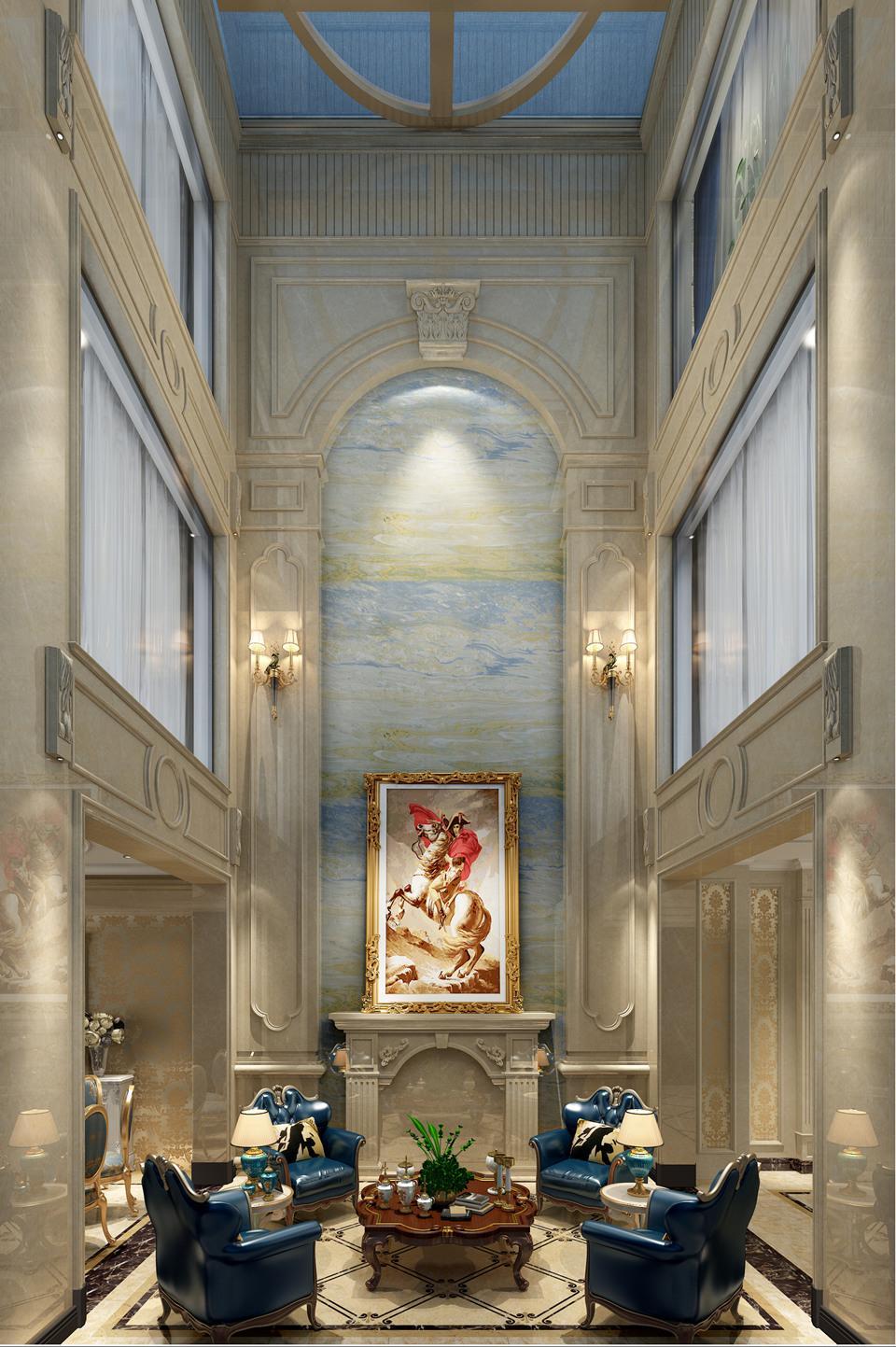 300平米别墅装修效果图, 将欧式风格的奢华展现得淋漓
