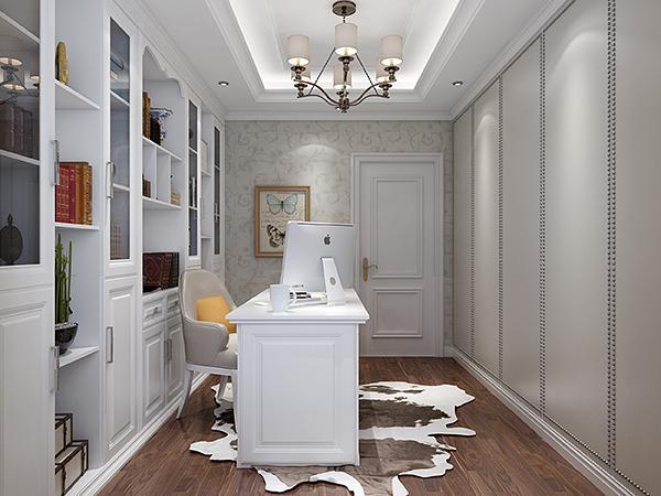 墙面被欧式大型书柜所占据,开放式与玻璃掩门设计的通透,让书柜更显
