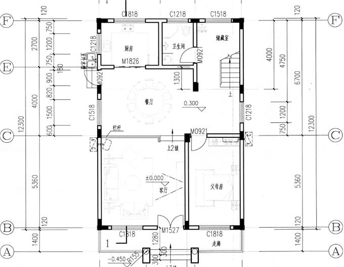 8.5米x12米平面图两层