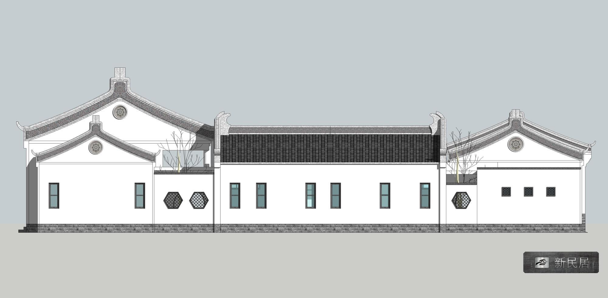 一层仿古中式四合院西立面效果图,主楼,厢房,门楼,围墙各有自己的高度