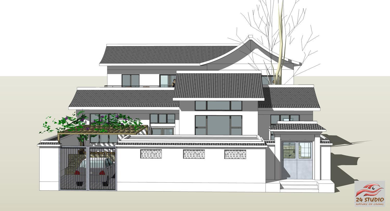 庭院式别墅设计案例连载(二)陕西现代中式两层民居设计案例16.5x30