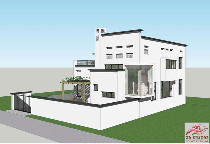 中式现代风格两层独栋别墅——24建筑设计案例图片