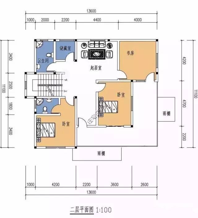 11x13米二层现代农村别墅 带露台