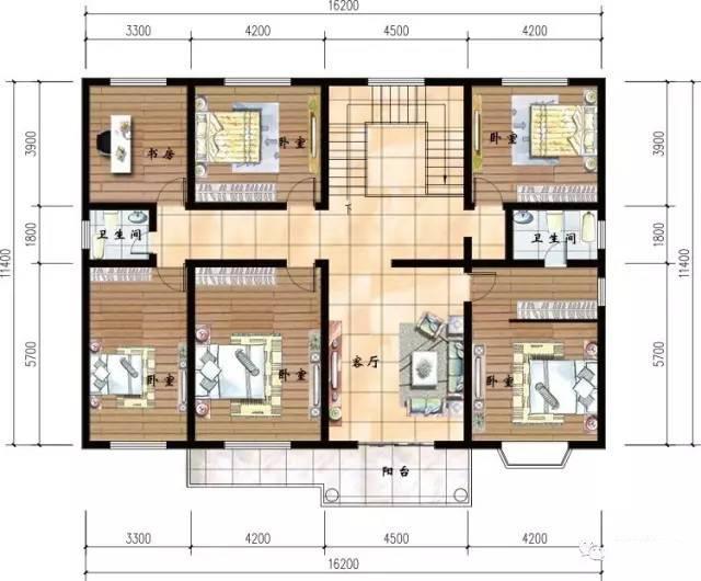二层平面图    该别墅设计中规中矩,两层总共7个房间4个