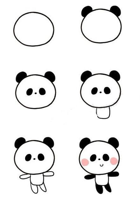 小熊猫简笔画图片大全-熊猫吃竹子图片简笔画-熊猫简