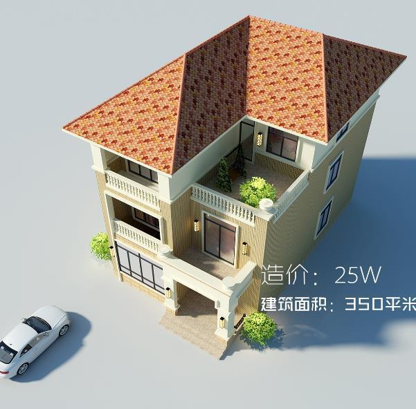 8x15米三层农村别墅, 8间卧室25万, 施工图老爸都看得